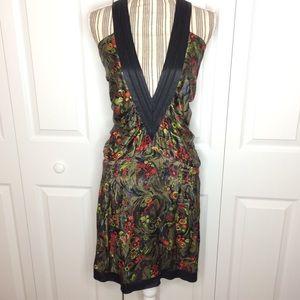 BILLTORNADE V-neck green floral silk dress
